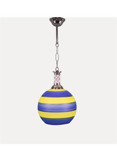 Şenay Aydınlatma Tekli Opal Cam Avize Sarkıt-Sarı Lacivert Renkli